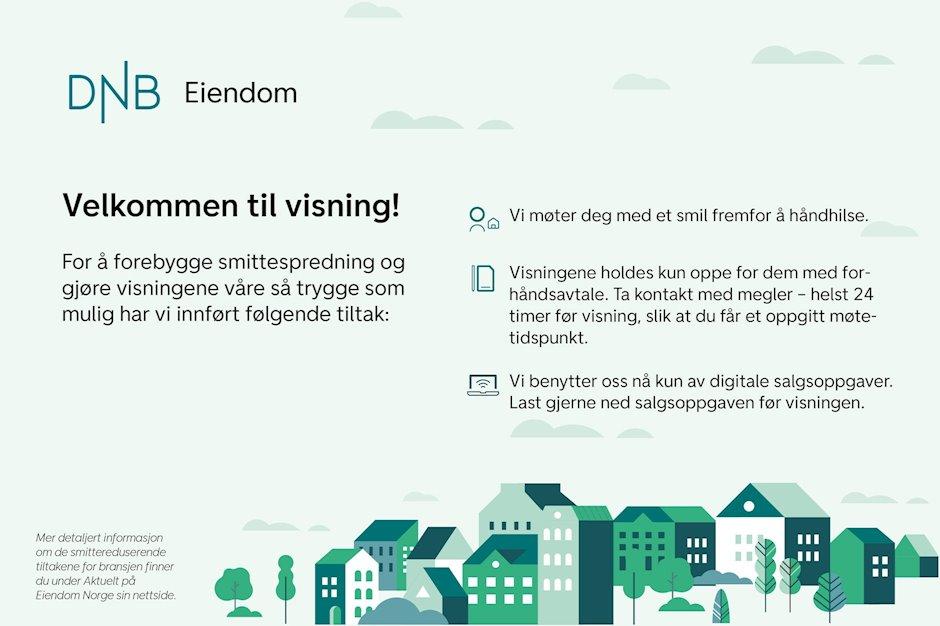 Husk å melde deg på de offisielle visningene. For evt. privatvisning ta kontakt med eiendomsmegler Truls A. Tansø på tlf. 48 95 44 44 / truls.tansoe@dnbeiendom.no